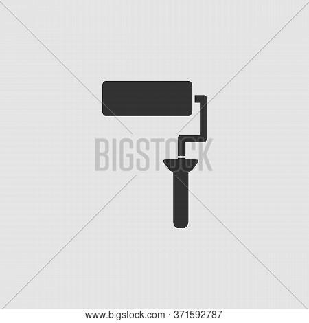 Paint Roller Icon Flat. Black Pictogram On Grey Background. Vector Illustration Symbol