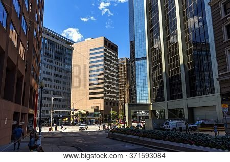 Denver,colorado,america- September 10,2019: View Of The On Downtown Denver Autumn Day.famous Place,t