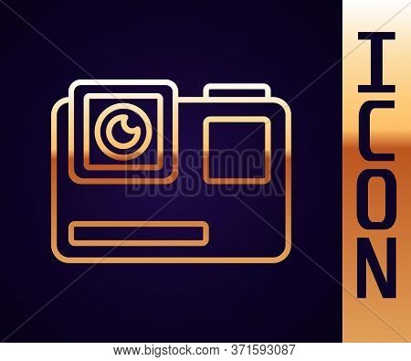 Gold Line Action Extreme Camera Icon Isolated On Black Background. Video Camera Equipment For Filmin