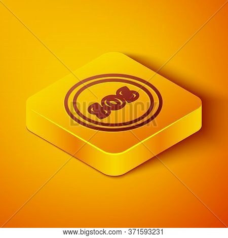 Isometric Line Location With Sos Icon Isolated On Orange Background. Sos Call Marker. Map Pointer Si