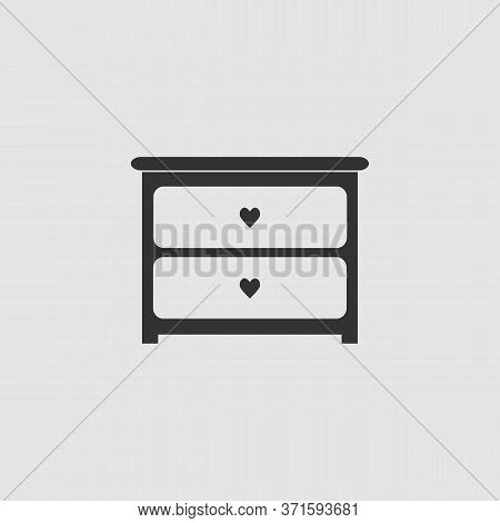 Dresser With Drawers Icon Flat. Black Pictogram On Grey Background. Vector Illustration Symbol