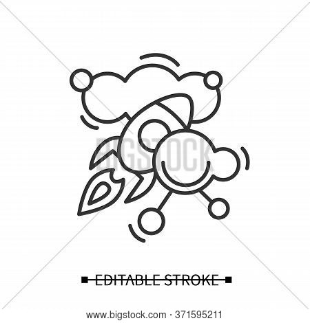 Creative Inspiration Icon. Rocket Launching In Information Sky Linear Pictogram. Concept Of Artistic