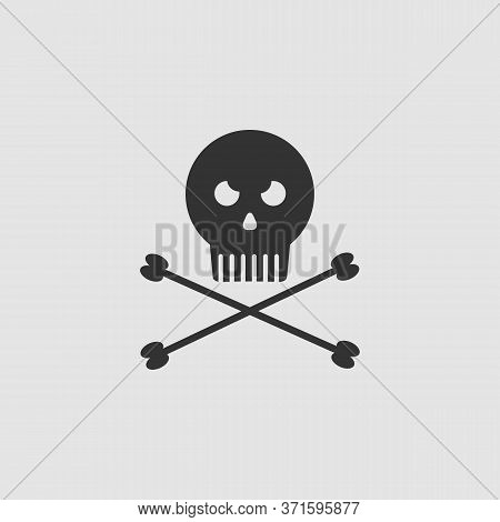 Jolly Roger Icon Flat. Black Pictogram On Grey Background. Vector Illustration Symbol