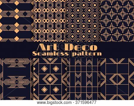Art Deco Set Of Seamless Pattern. Retro Backgrounds, Gold And Black Color. Style 1920's, 1930's. Lin