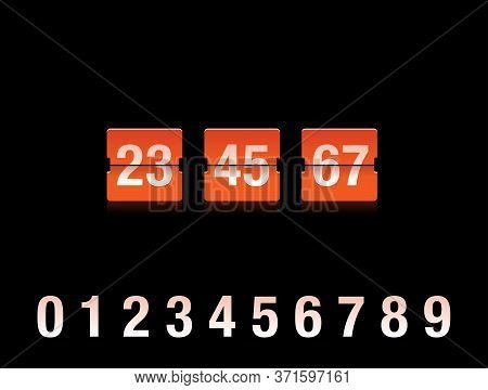 Flip Countdown Clock With Two-digit Number - Orange Counter Timer On Black Background, Time Remainin