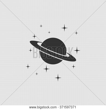 Planet Saturn Icon Flat. Black Pictogram On Grey Background. Vector Illustration Symbol