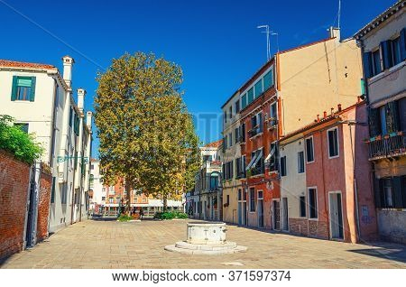 Venice, Italy, September 13, 2019: Campo San Simeone Grande Square With Colorful Buildings, Grand Ca