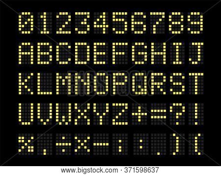 Realistic Digital Terminal Led Bulb Terminal Table Font. Letters, Numbers, And Punctuation Marks.