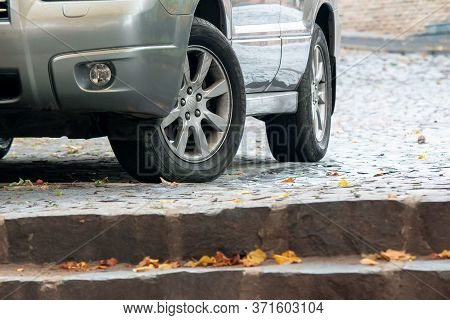 Uzhgorod, Ukraine - Oct 13, 2013: Silver Subaru Forester Suv On The Pavement. Autumn Weather With Ye