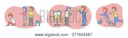Concept Of Conflict Situations Between People. Angry Boss Yelling At Employee At Work, Boy Pushing H