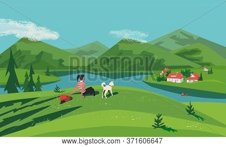 Mountain Green Valley Lake Landscape. Summer Season Scenic View Poster. River Side Village In Mounta