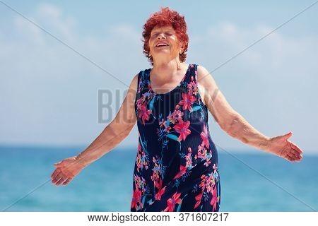 Happy Active Senior Woman Enjoying The Life, 80 Years Old Woman