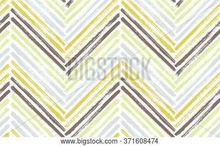 Unusual Chevron Fashion Print Vector Seamless Pattern. Ink Brushstrokes Geometric Stripes. Hand Draw