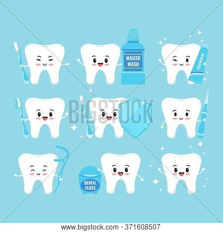 Tooth With Oral Hygiene Products Icons Set Isolated On White Background. Tooth Sign, Mouth Wash, Den