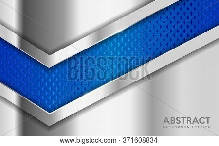 Shinny Metal Silver Background Combine With Blue Textured Overlap Layer. Abstract Background Design