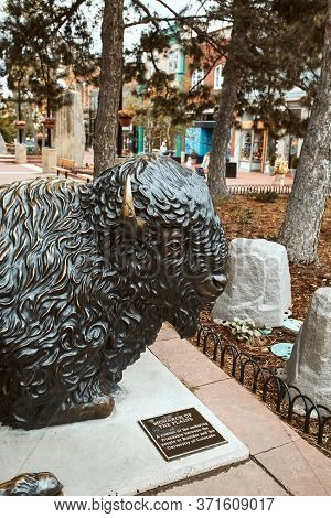 Boulder, Colorado - May 27th, 2020:  Bronze Buffalo Statue By Artist Stephen Leblanc On Display At P