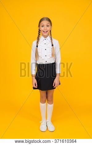 Perfect Schoolgirl. Small Schoolgirl With Happy Smile. Little Schoolgirl Looking Nice In School Unif