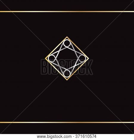 Golden And Silver Luxury Logo. Square Shape, Abstract Logo. The Golden And Silver Ornament On Black