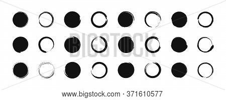 Grunge Black Circle. Brush Round Shape, Frame. Grungy Paint Abstract Background. Dirty Stain With Bo