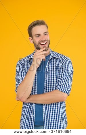 Good Idea. Positive And Good Vibes. Cheerful Mood. Man Looks Handsome In Casual Style. Guy With Bris