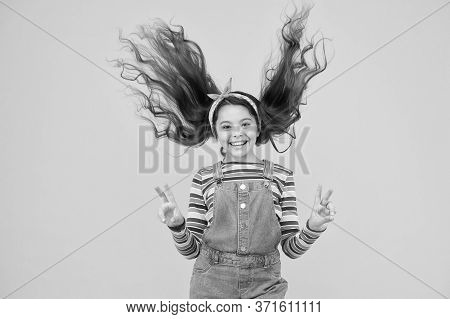 Summer Vacation Joy. Little Child Yellow Background. Old Fashioned Kid Fashion. Little Beauty Windy