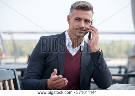 Listening. Call Partner. Businessman Hold Mobile Phone. Handsome Man With Phone Outdoors. Mobile Lif