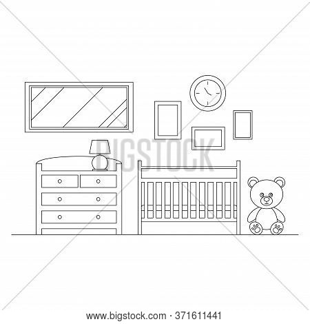 Cozy Line Art Baby Room Interior Background. Home Interior Scene With Cot, Lamp, Bear Toy, Chest Of