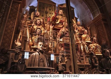 Lisbon, Portugal - June 6, 2018: Holy Relics Collection In Altar Of The Holy Martyrs In Church Of Sa