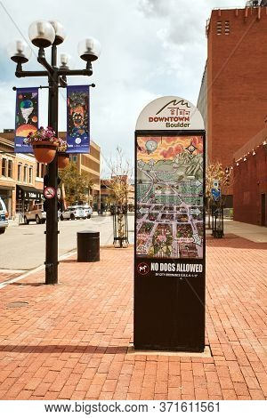 Boulder, Colorado - May 27th, 2020:  Sign With Map And Directions For Pearl Street Mall In Boulder C