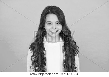 Pretty Teen Girl With Long Hair, Fashion. Kid Hairdresser Concept. Back To School. Studio Shot Of Gl