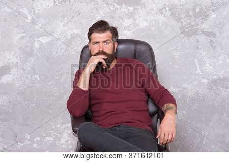 Beard Is Hairy Extension Of Man. Bearded Man Relax In Armchair. Brutal Man In Casual Style. Mens Fas