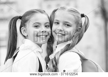 For The Look Of The Future. Beauty Look Of Little Children. Happy Classmates With Cute Look. Small F