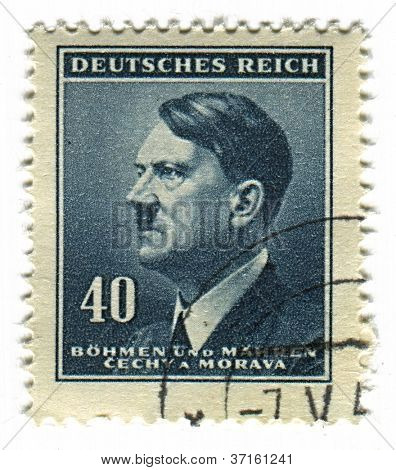 GERMANY - CIRCA 1937: A stamp printed in Germany shows image of Adolf Hitler was an Austrian-born German politician and the leader of the Nazi Party, in blue, circa 1937.