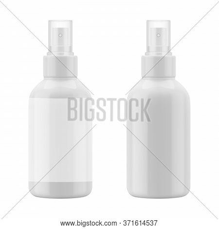 White Mockup Of Plastic Bottle. Blank Packaging - Spray For Cosmetics, Air Scavenger, Deodorant. Vec