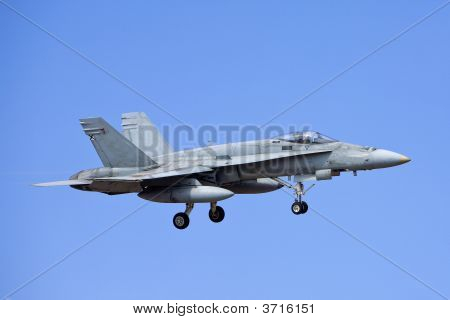 F-18 Hornet army airplane with gear extended for landing poster