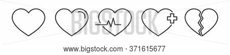 Heart Linear Icon For Medical Healthcare Design. Outline Cardio Symbol. Love Logo Set. Electrocardio