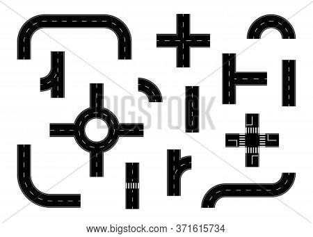 Flat Road For City Map. Highway For Car For Journey. Asphalt Construction Road Set For Truck. Juncti