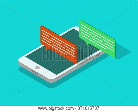 Mobile Phone Isometric With Speech Bubble. Sms Chat Icon In Smartphone. People Talk Online In Social