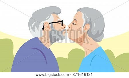 Love And Age. Two Old People Kiss. A Gray-haired Old Man And An Old Woman With White Hair Are Standi