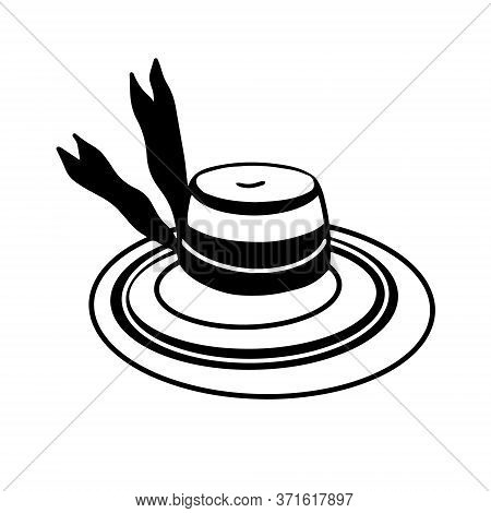 Straw Hat With Wide Brim Isolated On White Background. Womens Elegant Hat In The Style Of Doodles. H