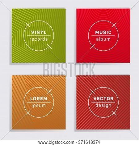 Cool Vinyl Records Music Album Covers Set. Halftone Lines Backgrounds. Tech Creative Vinyl Music Alb