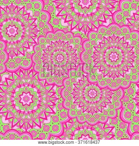 Persian Medallion Flower Seamless Ornament Vector Graphic Design. Pattern Template For Cushion. Love