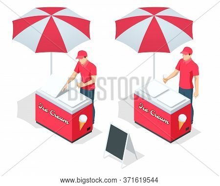 Isometric Street Ice Cream Cart With Awning. Ice Cream Cart Sweet Frozen Food Kiosk. Ice Cream Cool