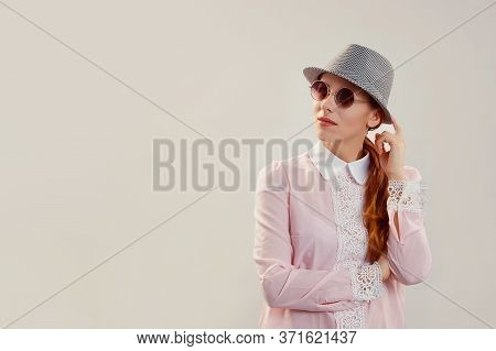 Thinking Having Doubts. Woman In Hatwondering Funny, Looking Up To Side Pondering Something, While S