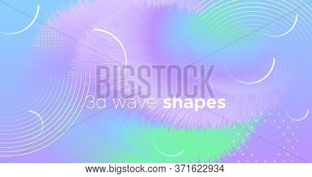 3d Vibrant Background. Pastel Trendy Banner. Vector Futuristic Wallpaper. Flow Gradient Motion. Neon