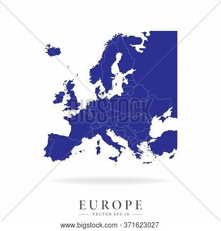 Detailed Map Of Europe. Countries Geographical Borders And Europe. Vector Illustration Isolated On A