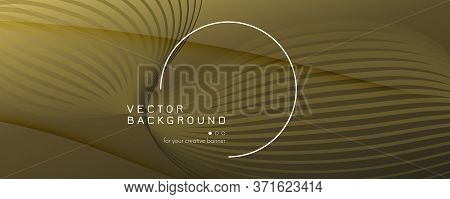 Abstract Vector Curve. Gold Gradient Background. 3d Flow Line. Business Texture. Golden Abstract Vec