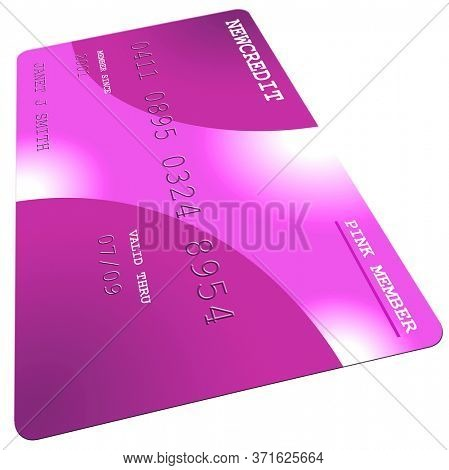 Pink Generic Credit Card Isolated on White Background. 3D rendering