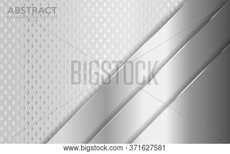 Shinny Metal Silver Background Combine With White Textured Overlap Layer. Abstract Background Design