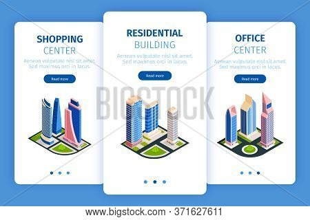 Isometric City Skyscrapers Banners Set With Images Of City Blocks High Buildings And Buttons With Te